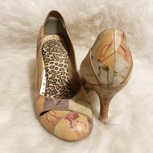 BCBGirls funky print neutral leather heels
